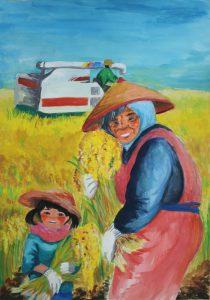三重県知事賞に選ばれた鈴鹿市立白子中学校3年の倉谷有希奈さんの図画作品